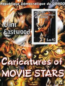 Congo RD 2001 Clint Eastwood Caricature Artist s/s Perforated mnh.vf