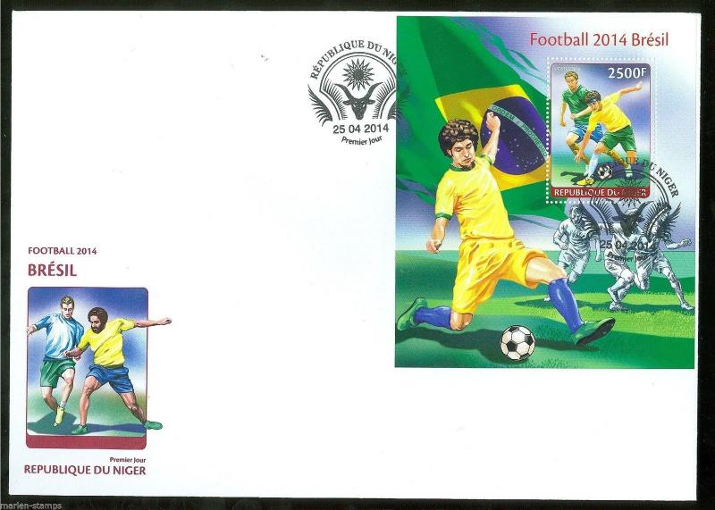 NIGER 2014 BRAZIL WORLD CUP SOCCER 2014 S/S FIRST DAY COVER