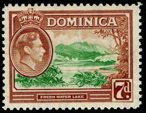 DOMINICA SG105a, 7d green & yellow-brown, LH MINT.