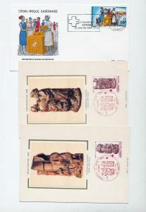 France Gabon Upper Volta Monaco Red Cross Covers Cards x 16 (Ref DD640