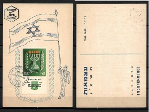ISRAEL STAMPS. 1955 MAXIMUM CARD INDEP. DAY