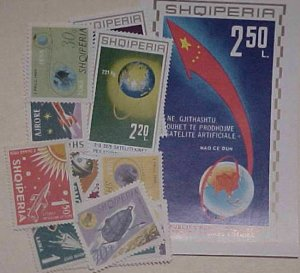 ALBANIA SPACE  1 STHEETLET & 15 DIFF. STAMPS MINT NH at.$103.00