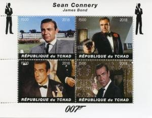 Chad 2018 JAMES BOND SEAN CONNERY Sheet Perforated Mint (NH)