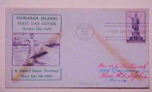 HAWAII FDC 1937  #799-34  SURFING CACHET