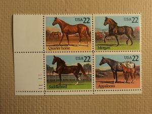 USPS Scott 2155-58 22c Horses Mint NH Plate Block 4 Stamps