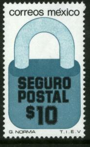 MEXICO G28, $10P Padlock Insured Letter Unwmk Fluor Paper 6. MINT, NH. F-VF.