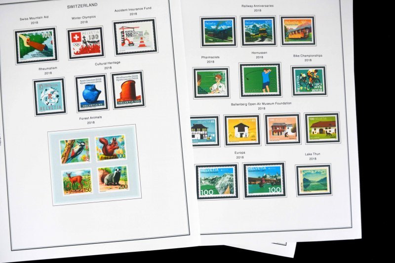 COLOR PRINTED SWITZERLAND 2011-2018 STAMP ALBUM PAGES (49 illustrated pages)
