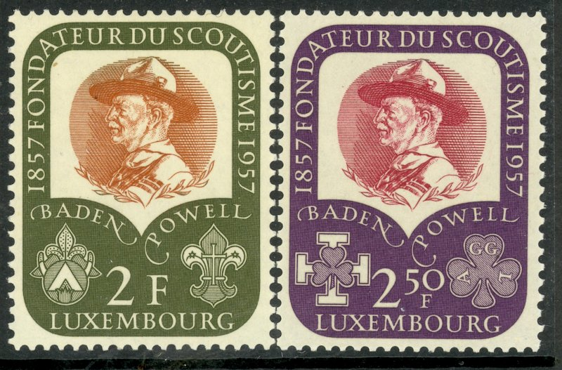 LUXEMBOURG 1957 BADEN-POWELL BOY SCOUT Set Sc 324-325 MNH