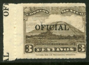 MEXICO O212, 3¢ OFFICIAL, PYRAMID OF THE SUN. MINT, NH. VF.
