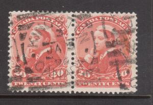 Canada #46 VF Used Pair With Ideal Kingston Square Circle Cancel Jan 3 1899