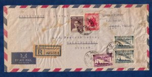 Thailand Sc C22 Pair (1955) Thailand To Sweden Multi-Stamped Air Postal Cover