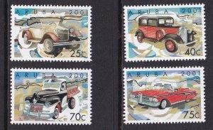 Aruba   #207-210  MNH   2001  classic motor cars