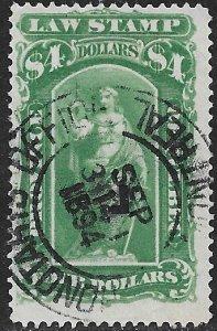 CANADA REVENUES QUEBEC 1893-1906 $4.00 LAW STAMP VDM. QL49 Used