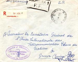 Ruanda Urundi Burundi Official Free Mail 1964 Usumbura-1 Registered to Geneva...