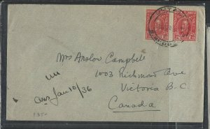 SOUTHERN RHODESIA COVER (P0405B) 1936 KGV 1D PR COVER UMTALI TO CANADA