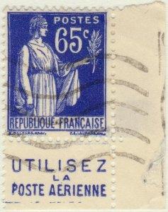 FRANCE - 1937 Pub UTILISEZ LA POSTE AERIENNE inférieure /Yv.365b 65c Paix (A2)