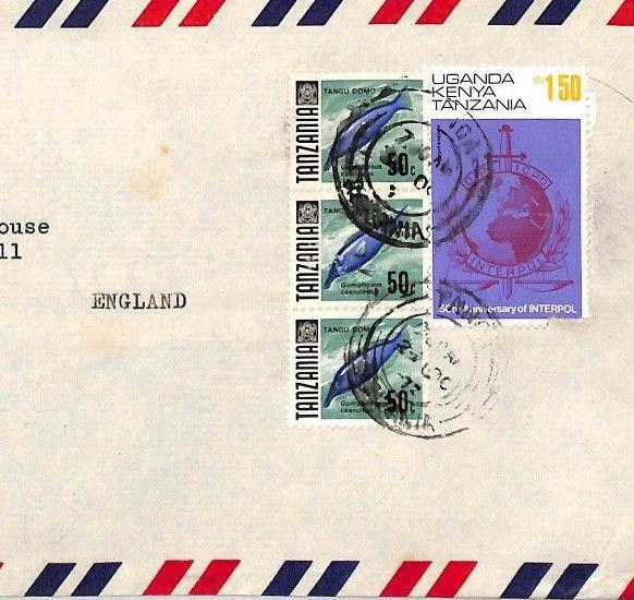 BT286 1977 TANZANIA/BRITISH KUT MIXED FRANKING *Lushoto* Commercial Air Cover