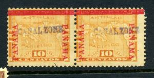 Canal Zone 3 Overprint Unused Pair of 2 Stamps with PF Cert (Stock  CZ3-16)