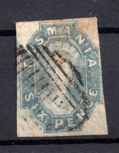 Tasmania 1858-67 6d imperf Chalon good used WS15908