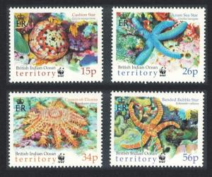 BIOT WWF Sea Stars 4v SG#253-256 MI#266-269 SC#231-234 CV£9 SALE BELOW FACE