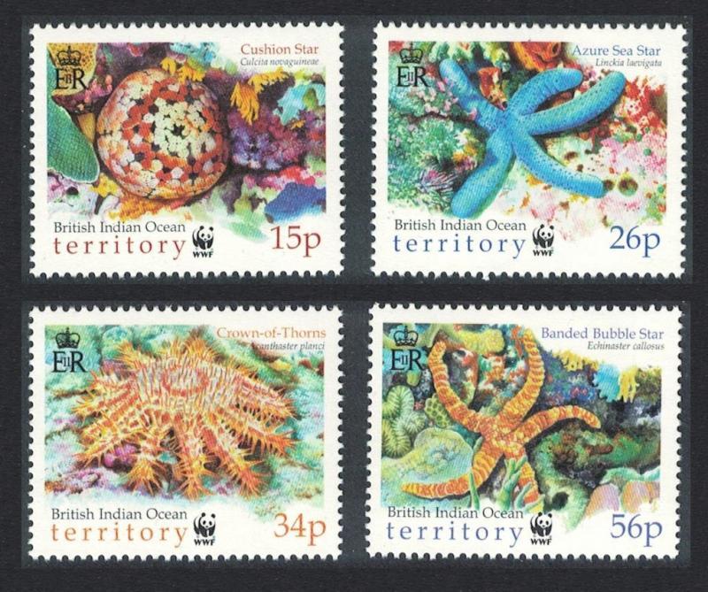 BIOT WWF Sea Stars 4v SG#253-256 MI#266-269 SC#231-234 CV£7.9 SALE BELOW FACE