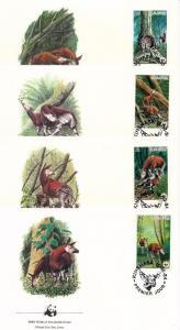 [54177] Zaire Congo 1984 Wild animals Mammals WWF Okapi FDC 4 covers