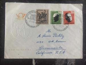 1957 Dresden East Germany DDR First Day Cover FDC Postal Service To USA