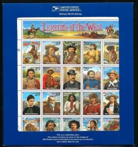 US SCOTT#2870 - RECALLED LEGENDS OF THE WEST SHEET IN BLUE FOLDER -