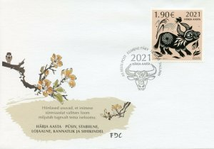 Estonia Year of Ox Stamps 2021 FDC Chinese Lunar New Year 1v Set