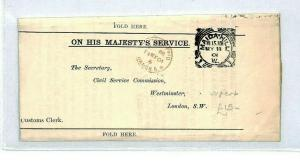 GB 1901 *MAIDA HILL* London OHMS Squared Circle Complete Cover {samwells}CT140