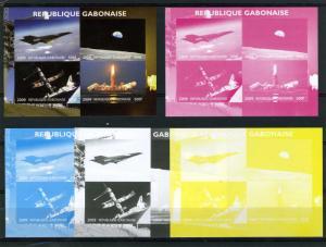 Gabon 2009 SPACE Nasa Ares Program (4) Progressive Color Proofs + oroginal