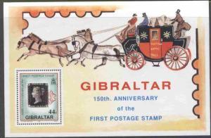 Gibraltar 573 MNH Stamp on Stamp, Royal Mail Coach, Horses