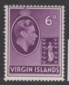 VIRGIN ISLANDS SG116a 1943 6d MAUVE ORDINARY PAPER MTD MINT
