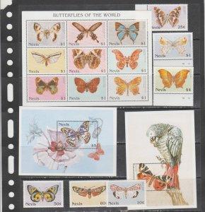 Nevis 1997 butterflies insects fauna klb+2s/s+set MNH