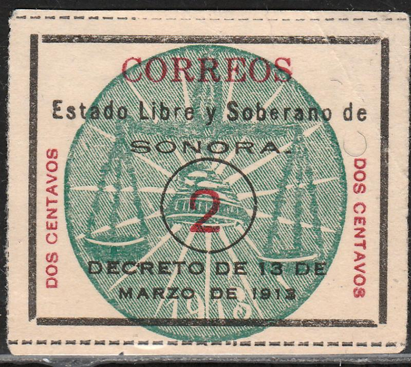 MEXICO 342, 2c SONORA GREEN SEAL. UNUSED, NG (AS ISSUED). F-VF.