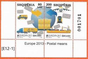 Albania 2013 [E12-1]  -Europa , Postal vehicles, MiNr.3427-28,GimNr. 3583-84,MNH