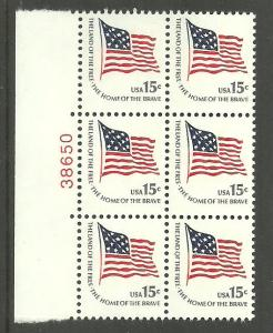 #1597 Ft. McHenry Flag Block of 6 with plate Number Mint NH