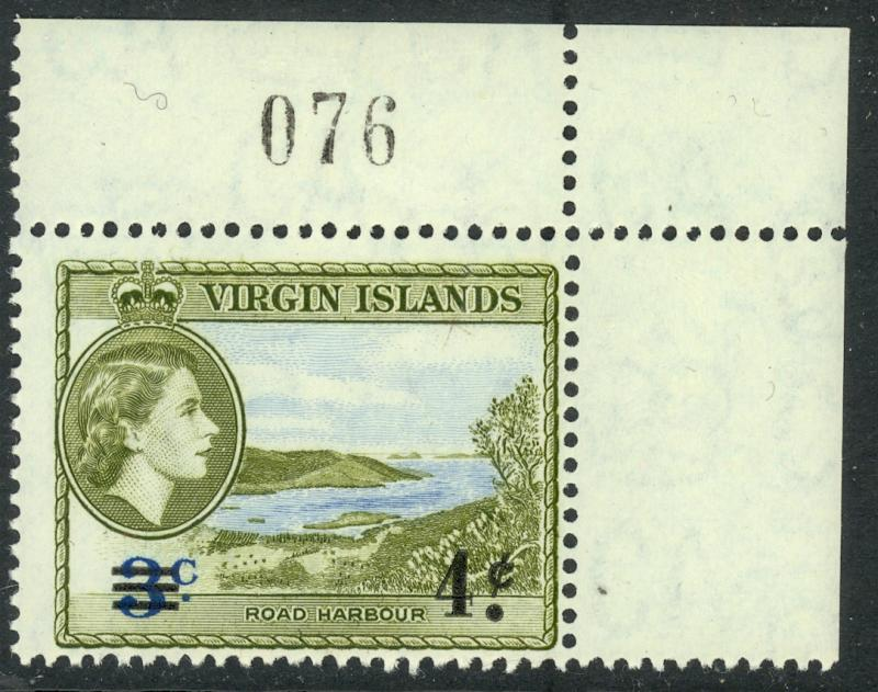 BRITISH VIRGIN ISLANDS 1962 4c on 3c HARBOR Surcharged SHEET No.Single Sc 131 NH