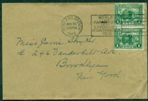 1913 PAN PACIFIC EXPO CANCEL ties 1¢ pair + letter on EXPO STATIONERY