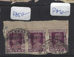 PAKISTAN (PP2302B) LOCAL HANDSTAMP  KGVI ON INDIA  1/2A X3 ON PIECE  VFU
