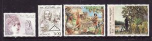Monaco-Sc#1930-33-unused NH set-Voltaire-Sarah Bernhardt-Robinson Crusoe-1994-