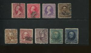 1890 US Stamps #219D 220c-227 Used F/VF Variety Postal Canceled