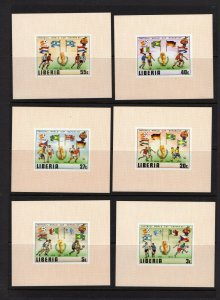 Liberia #886-91  (1982 World Cup of Soccer set) VFMNH Deluxe sheets