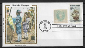 US 1984 Colorano Silk Cachet FDC, Roanoke Voyages ,VF-XF !! (RN-50)