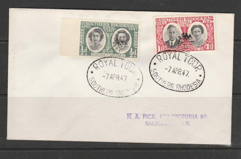 Southern Rhodesia Cover 1947 Royal visit with Royal Tour cancel