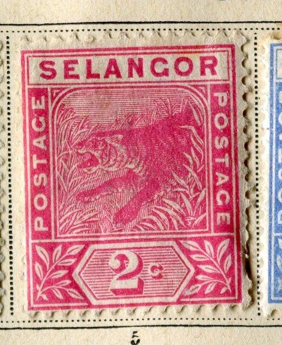 MALAYA SELANGOR;   1891 early classic Tiger issue Mint hinged 2c. value