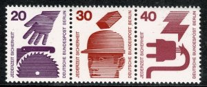 GERMANY BERLIN 1971-74 ACCIDENT PREVENTION TRIPLE MINT (NH) SG B398- P.14 SUPERB