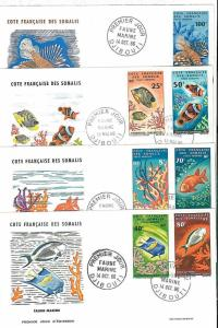 FISH -  STAMPS on 4 FDC COVERS - DJIBOUTI 1966