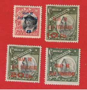 Chile #79-82  MVFH OG  Surcharges  Free S/H