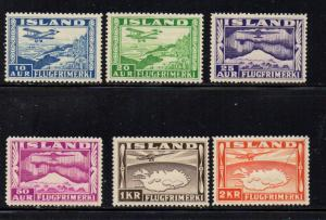 Iceland  1934 Airplane & Map airmail stamp set mint